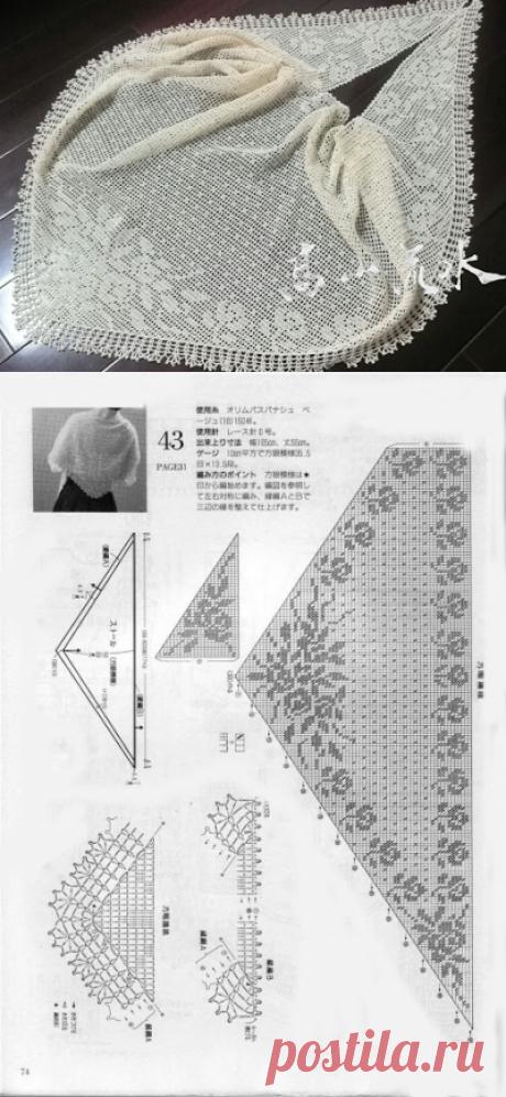 Crochet Knitting Handicraft: Crochet Shawl with roses
