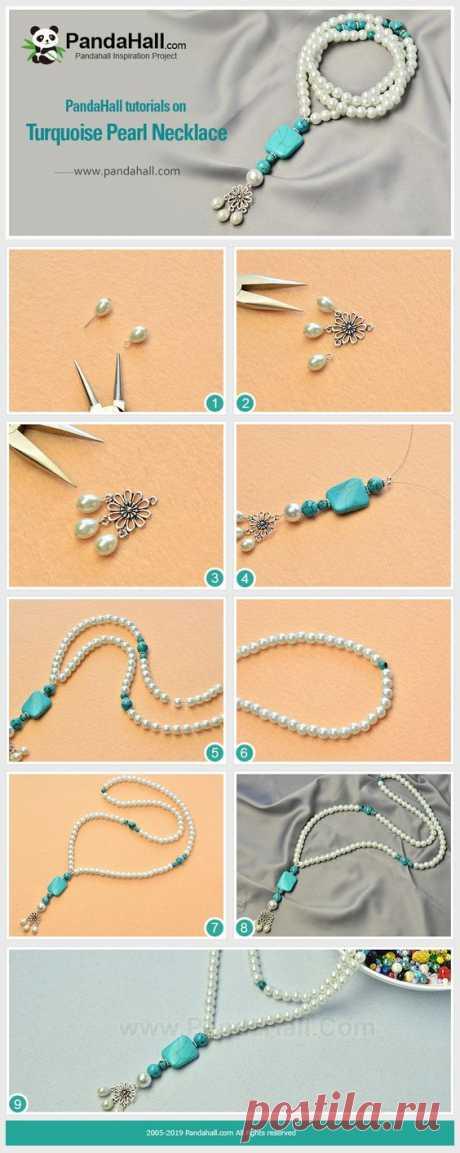 Бирюзовое Жемчужное Ожерелье Вам нравится бирюза, очень элегантный материал? В этом уроке мы использовали бирюзу и жемчуг, чтобы сделать такое элегантное ожерелье, я надеюсь, вам понравится. Сделайте.