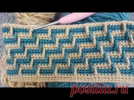 Вязание двухцветного афганского одеяла и узоров для вязания крючком