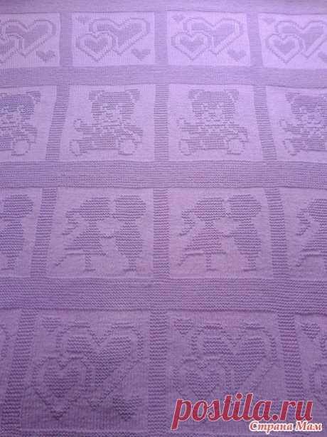 Детский плед теневыми узорами (Вязание спицами) — Журнал Вдохновение Рукодельницы