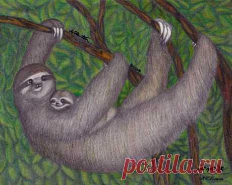 Spring Babies: Mama & Baby Sloth | Etsy