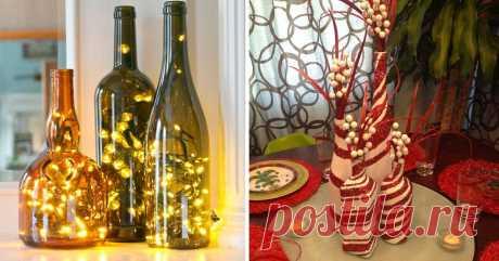 Впечатляющие новогодние и рождественские украшения из бутылок! 26 идей. Очарована ими!