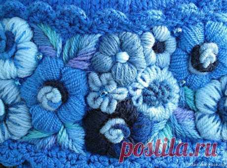 Вышивка по вязаному полотну часть 2.
