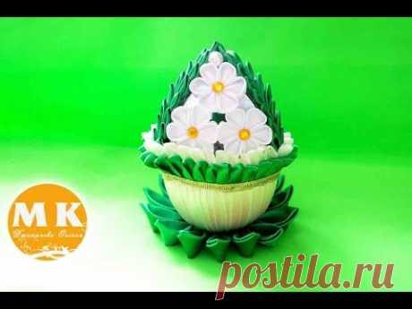 Мастер-класс Канзаши.Пасхальное яйцо с цветами из атласных лент