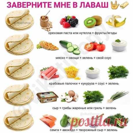 Вкусные начинки для лаваша! Сохраняем и пользуемся!