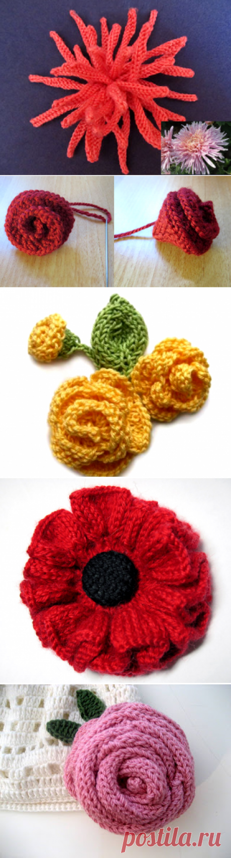 Цветы спицами схемы и описание для начинающих