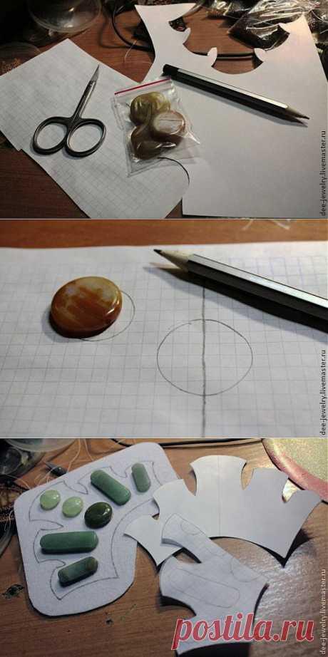 Симметричная выкройка для вышивки на примере колье, мастер-класс - Создание бижутерии