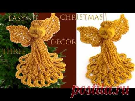 Como hacer ángeles de Navidad a crochet Christmas decor three