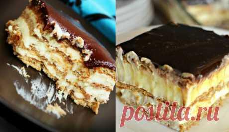 Восхитительный торт «Эклер» без выпечки из 4 ингредиентов.