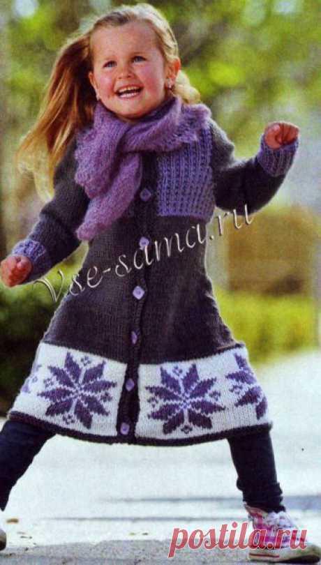 Пальто со снежинками и косынка - Детское пальто, куртки спицами