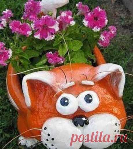 Котик-кашпо или вечный садовый друг — Сделай сам, идеи для творчества - DIY Ideas