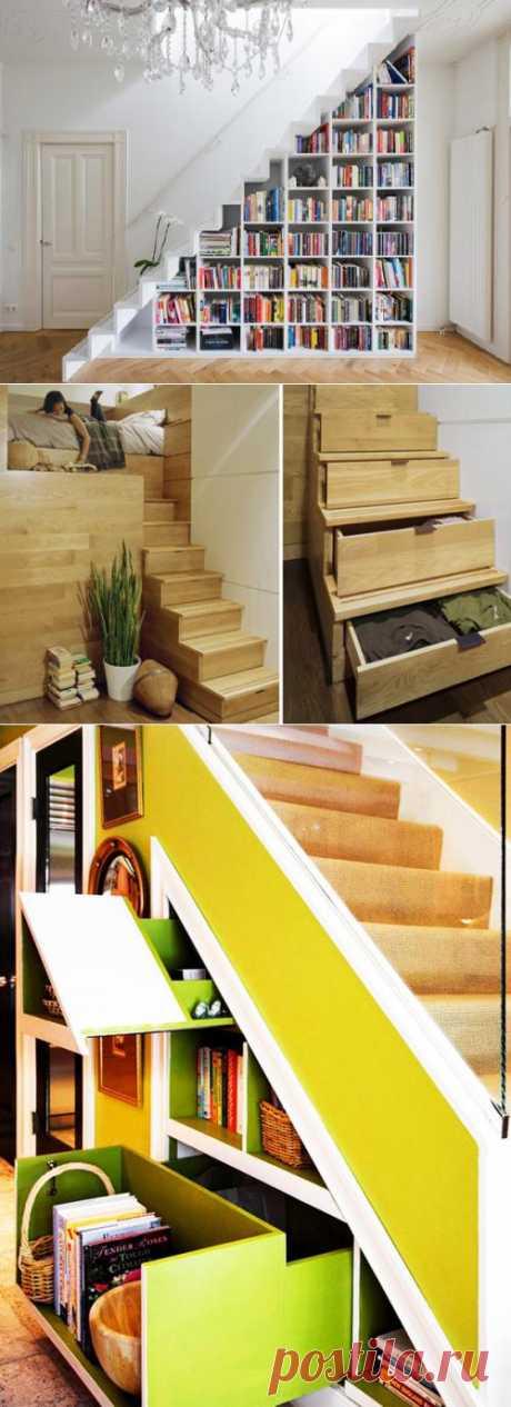 А что у вас под лестницей? Подборка очень эффективных идей для организации пространства с пользой.