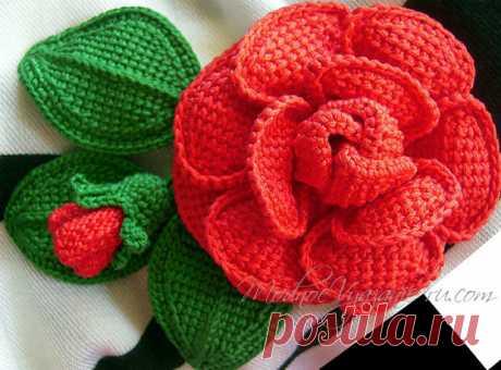 Шикарные розы тунисским вязанием (Вязание крючком) | Журнал Вдохновение Рукодельницы