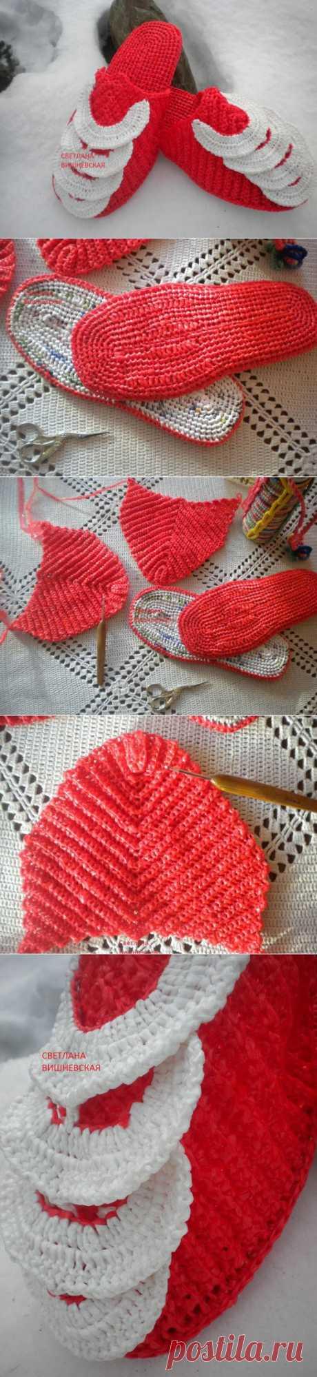 МК . Красные шлёпки - тапки . Вязание из пакетов ..