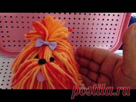 Mini cachorrinho de lã: peso de papel.