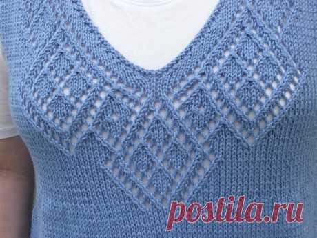 Ажурная горловина переда пуловера