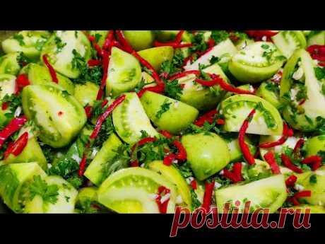 Салат из Зелёных Помидор на зиму. Вкуснее Спелых помидор и Солёных огурцов!