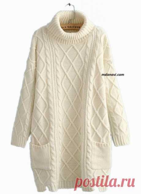 Вязаное платье свободного кроя (вязание спицами)