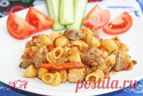 Макароны с мясом в одной сковороде : Вторые блюда