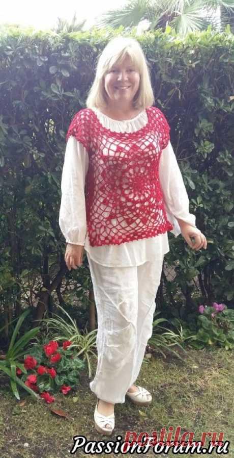 Красная, ажурная из центра. СХЕМА | Женская одежда крючком. Схемы и описание
