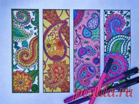Paisley Bookmarks - Printable Bookmark Coloring...