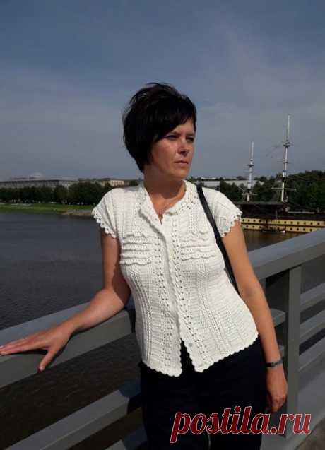 Кофточка по мотивам всем известного платья Ванессы Монторо Винтаж. Белорусский хлопок в пять сложений _________________ От Администрации  Дорогие Авторы, пожалуйста, прикладывайте схему вязания