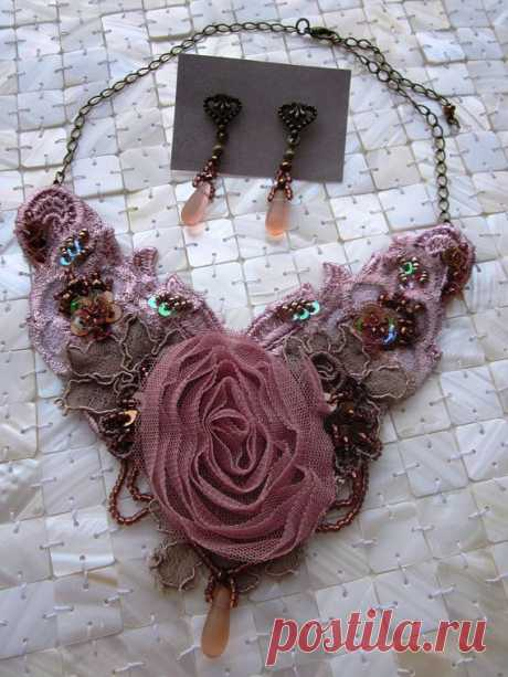 Dusty Pink/Bronze Necklace - Reserved for Aude