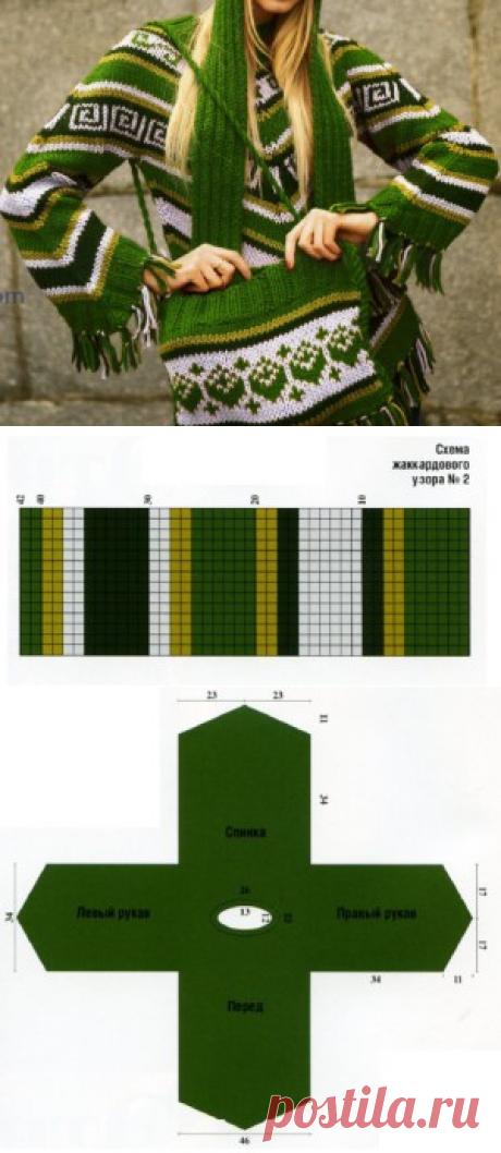 Женский пуловер с этническим узором. Вязание с описанием.