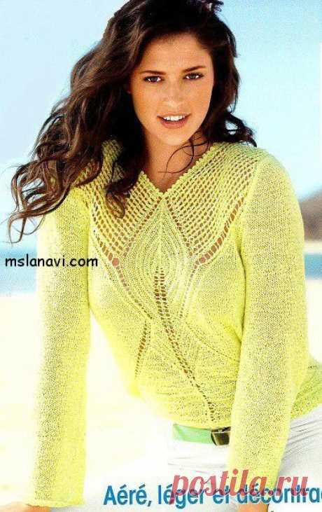 Ажурный пуловер спицами в лимонном цвете | Вяжем с Ланой
