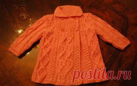 Весеннее пальто для девочки — Попкорн — детское вязание спицами и крючком