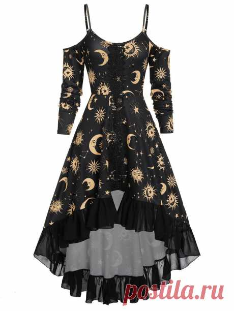 [46% OFF] 2020 High Low Cold Shoulder Flounce Sun And Moon Print Gothic Dress In BRONZE | DressLily