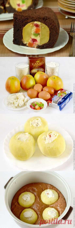 Шоколадный пирог с целыми яблоками / Рецепты с фото