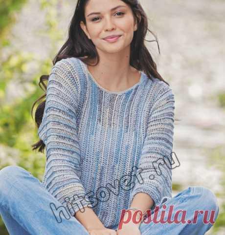 Летний пуловер из шелка крючком - Хитсовет Вязание крючком для женщин летнего пуловера из шелка с пошаговым бесплатным описанием.