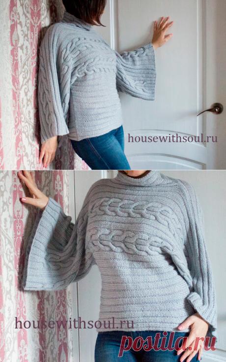 Подробное описание и схема с фото вязания пуловера кимоно спицами - Дом с душой