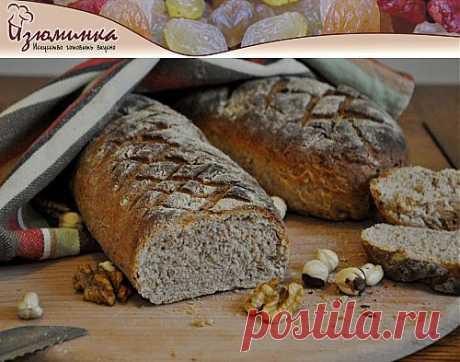 Домашний хлеб с розмарином, орехами и лавандой на ржаной и пшеничной муке