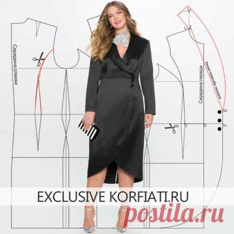 Выкройка платья с воротником шалька от Анастасии Корфиати