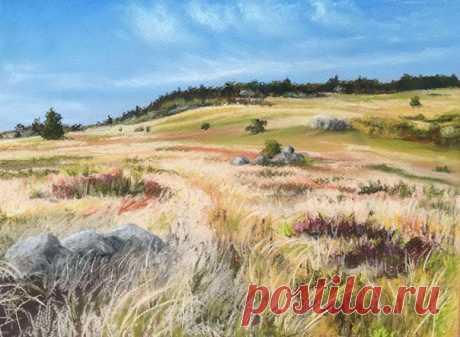 We draw a landscape a pastel