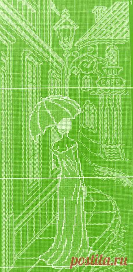 """Филейный узор """"Прогулка по старым улочкам"""" Схема узора """"Прогулка по старым улочкам"""" для вязания крючком филейных изделий, наприме"""
