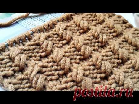 Вяжем классный рельефный узор спицами🙋♀️ knitting pattern.