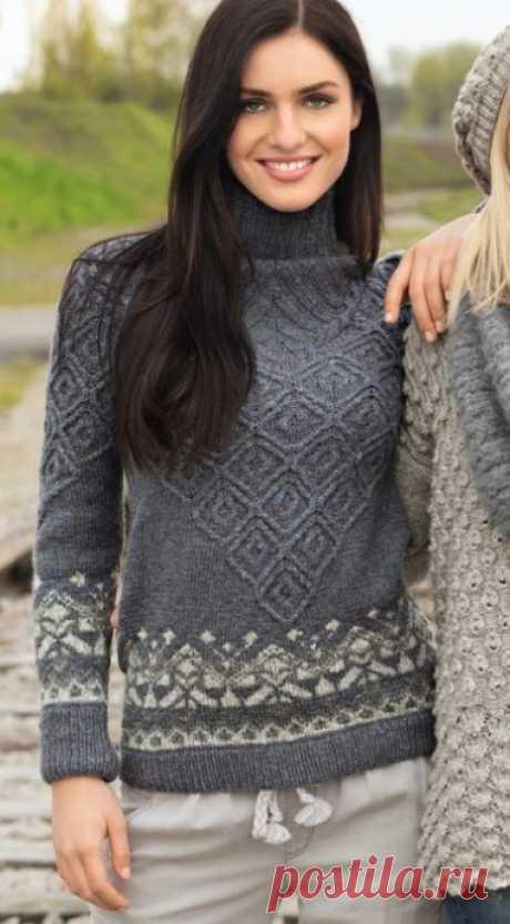 Интересный свитер: жаккардовые и рельефные узоры