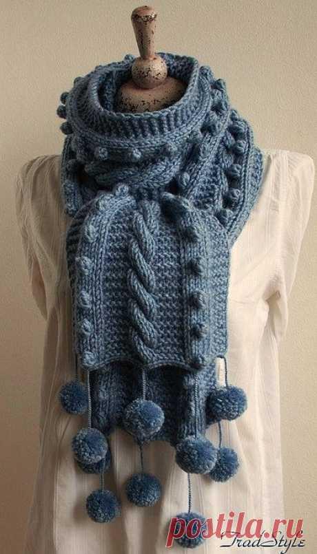 4 объемных шарфа с косами (схемы и описание) | Рукоделие
