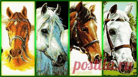 «Нежность и сила» (4 схемы) Drie paarden
