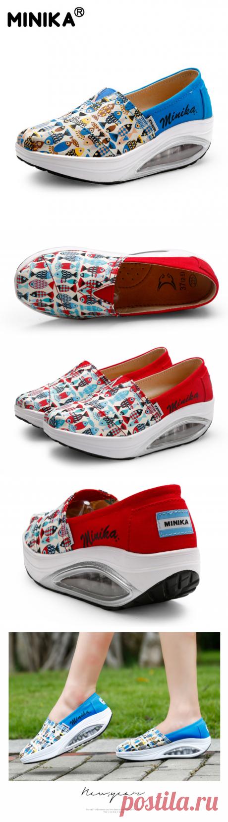 Minika Дамская Повседневная обувь из парусины Air Подушки подошвы скольжения на качелях обувь для фитнеса на платформе прогулочная Высота обувь со скрытым каблуком купить на AliExpress