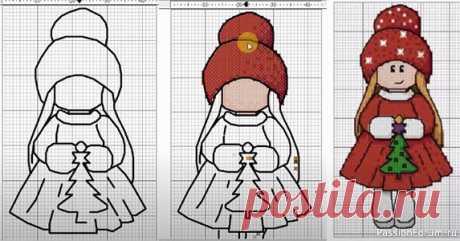 Рисуем схему вышивки крестом с нуля. Процесс создания. Новогодняя кукла. | Вышивка крестом В этом видео я покажу процесс создания очередной своей Новогодней схемы, но на этот раз рисовать буду с нуля, на чисто белом листе.Что и как именно получится, узнаете в конце.