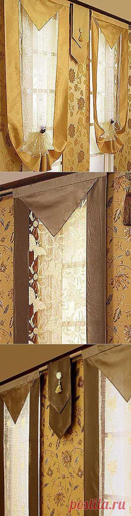 Модный дизайн штор: японские шторы с прозрачной серединой.