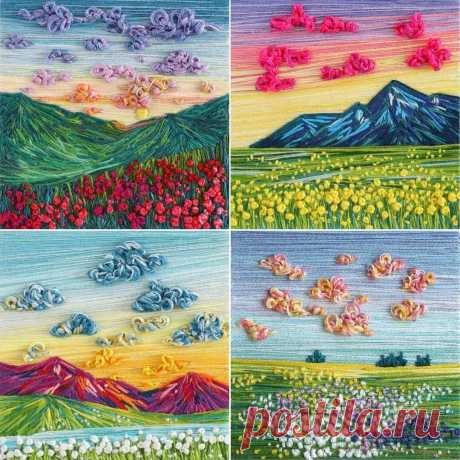 Яркие пейзажи Каролины Торрес, покорившие ETSY | НЕСКУЧНАЯ ВЫШИВКА | Яндекс Дзен
