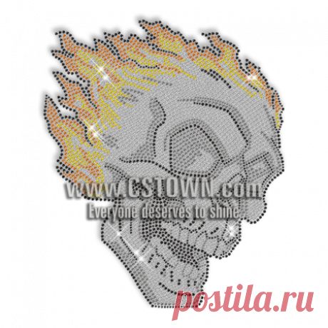 Rhinestud Skull Iron On Design for t shirt - CSTOWN