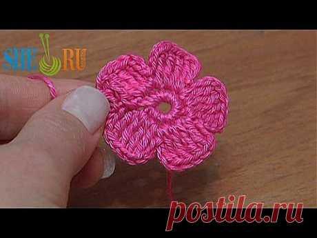 Вязание цветка Урок 28 Часть 2 Цветок для наборного кружева - YouTube