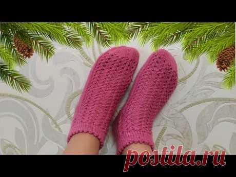 Ажурные носочки спицами. Подробный МК