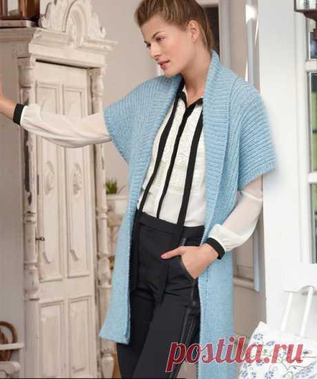 Удлиненный жилет спицами с воротником шаль - Портал рукоделия и моды